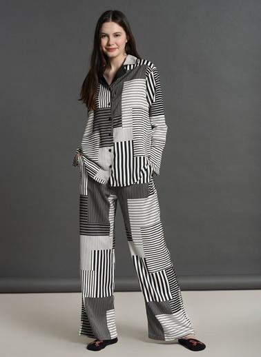 Dagi Saten Gömlek Uzun Kollu Pijama Takımı Siyah